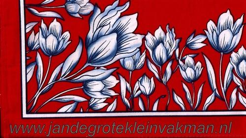 Bandana, tulpen motief, achtergrondkleur rood