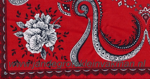 Bandana, rozen motief, achtergrondkleur rood