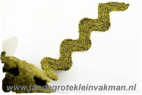 Grof geweven zigzagband, middengroen, 30mm breed