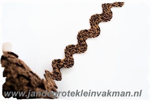 Grof geweven zigzagband, bruin, 20mm breed