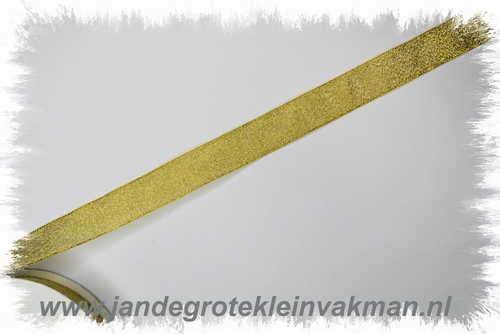 Lurex lint, 19mm breed, prijs per meter, goudkleur