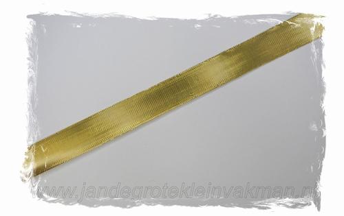 Metallic lint, 25mm breed, prijs per meter, goudkleur