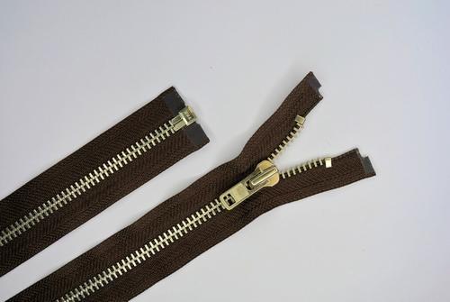 Deelb. rits, grof metalen tanden, 80cm, kleur 570, bruin