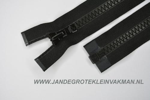 Deelbare rits, grove bloktand, 100cm, zwart