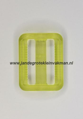 Gesp, kunststof, transparant groen, 25mm