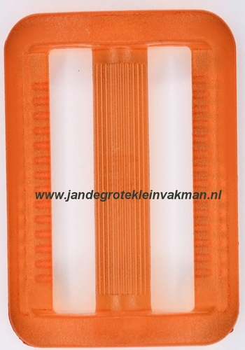 Gesp, kunststof, transparant oranje, 40mm
