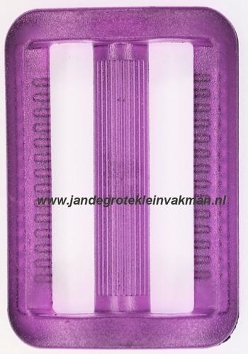 Gesp, kunststof, transparant paars, 40mm