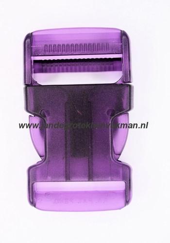 Insteekgesp, kunststof, 25mm, transparant paars