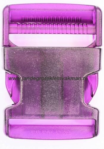 Insteekgesp, kunststof, 40mm, transparant paars
