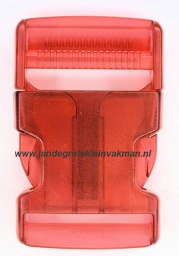 Insteekgesp, kunststof, 40mm, transparant rood