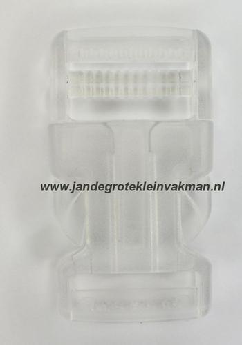 Insteekgesp, kunststof, 30mm, transparant