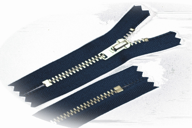 Broekrits, niet deelbaar, 12 cm, metalen tanden, jeans