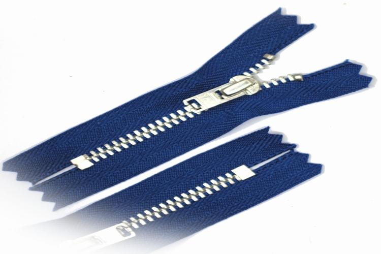 Broekrits, niet deelbaar, 15 cm, metalen tanden, kobaltblauw