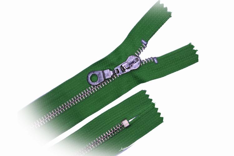 Broekrits, niet deelbaar, 15 cm, metalen tanden, grasgroen