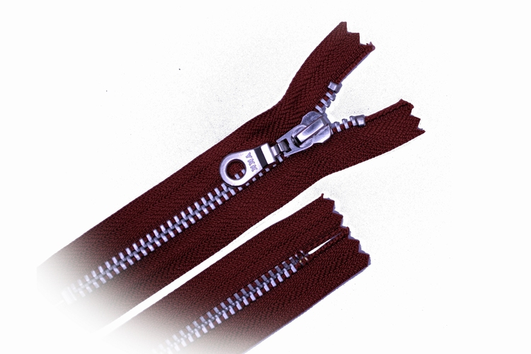 Broekrits, niet deelbaar, 18 cm, metalen tanden, brick