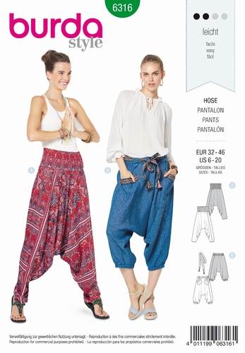 Burda naaipatroon, pantalon, maat 32-46
