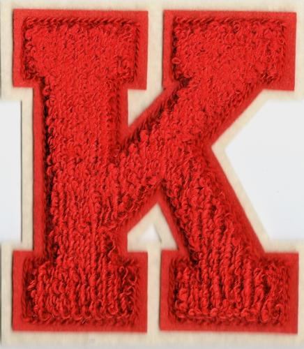 Baseball applicatie, letter K, rood