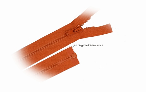 Rits deelbaar, bloktand, nylon, 50cm, kleur 849, oranje