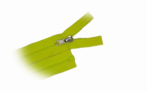 Rits deelbaar, bloktand, nylon, 65cm, kleur Fluorgeel