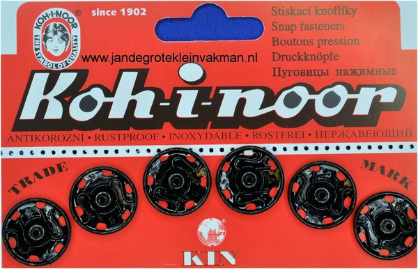 Naaidrukkers zwart 18,9mm, 6 stuks
