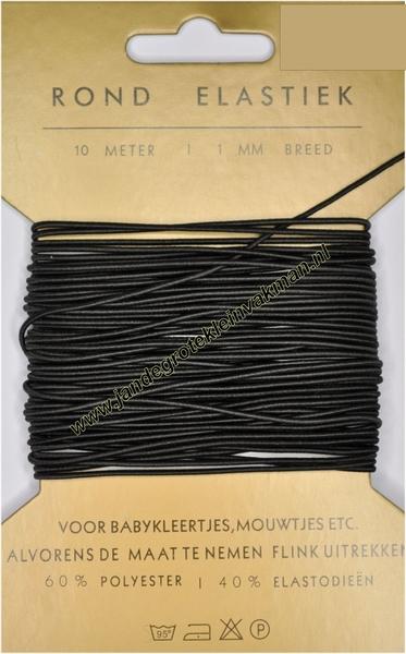 Elastiek, rond, zwart, 1mm, kaart met 10 meter