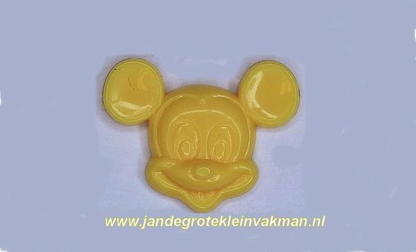 Kunststof knoopje geel ca.15mm Mickey Mouse