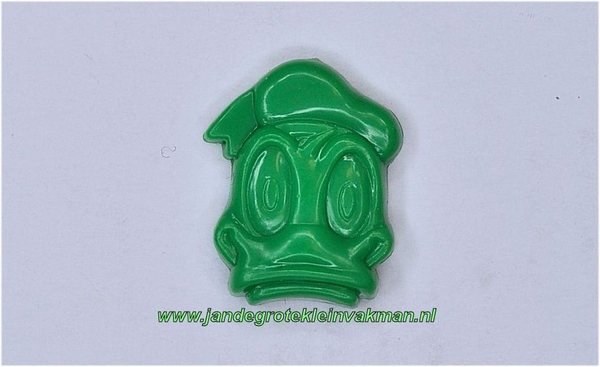 Kunststof knoopje groen ca.15mm Donald Duck