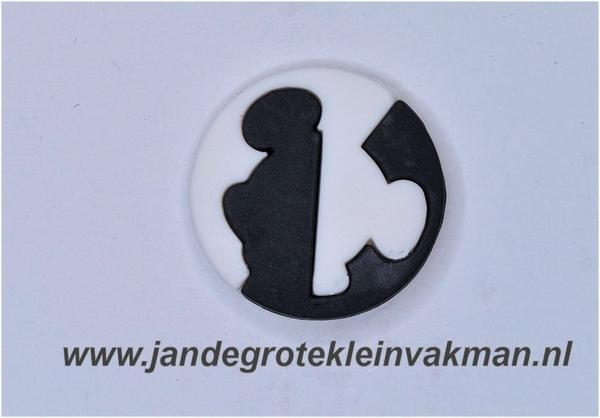 Kunststof knoop zwart wit ca.20mm  Mickey