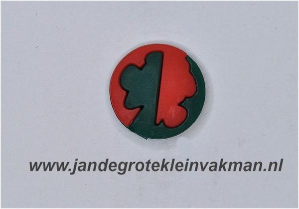 Kunststof knoop rood groen ca.15mm  Mickey