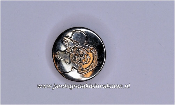 Metalen knoopje zilverkleurig ca. 15mm Minnie Mouse
