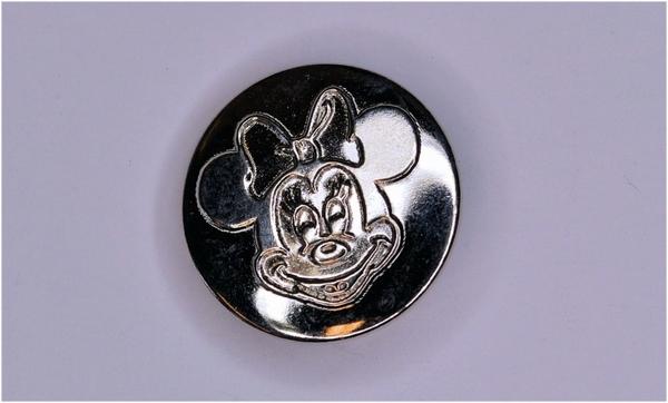 Metalen knoopje zilverkleurig ca. 20mm Minnie Mouse
