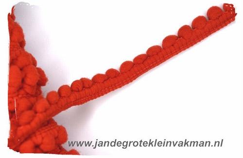 Bolletjesband (fijn), rood, ca.12mm, per meter