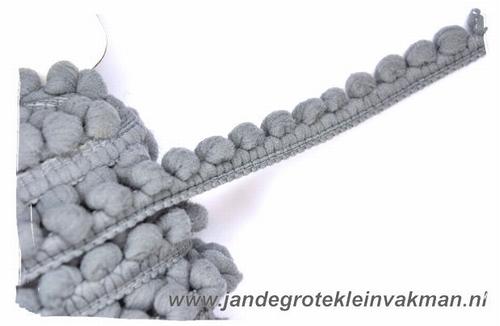 Bolletjesband (fijn), grijs, ca.12mm, per meter