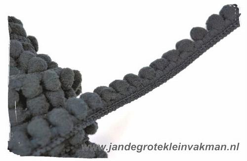 Bolletjesband (fijn), donkergrijs, ca.12mm, per meter