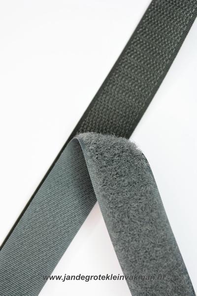 Klittenband YKK, opnaaibaar per meter, 20mm breed, m. grijs