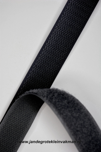 Klittenband YKK, opnaaibaar per meter, 20mm breed, zwart
