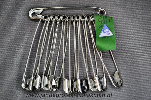 Veiligheidsspelden, bundeltje12 stuks, 55mm, zilverkleurig