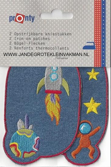 Pronty opstrijkb. kniestukken raket jeans blauw, 2 stuks