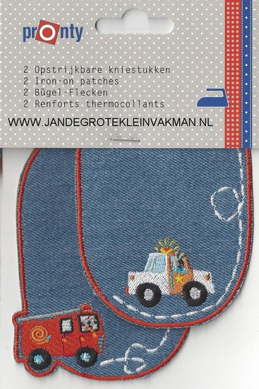 Pronty opstrijkb. kniest. politie/brandweer jeans blw, 2 st.