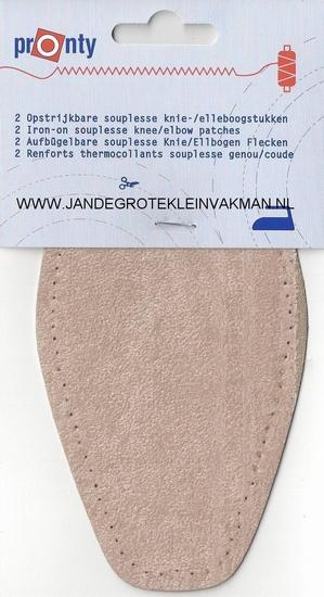 Pronty opstrijk- opnaaibare elleboogstukken l. beige, 2 st.