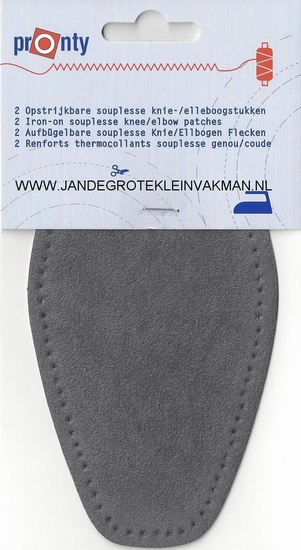 Pronty opstrijk- opnaaibare elleboogstukken l. grijs, 2 st.