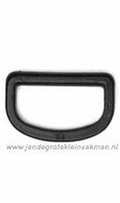 D-Ring, kunststof, zwart, 25mm