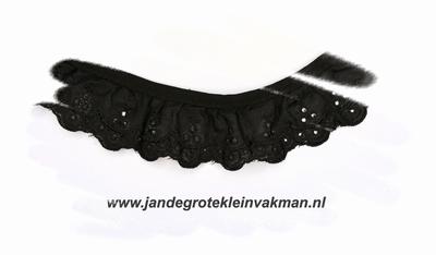 Kant, katoenmenging, voorgerimpeld, zwart, ca 30mm breed