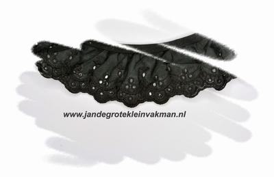 Kant, katoenmenging, voorgerimpeld, zwart, ca 60mm breed