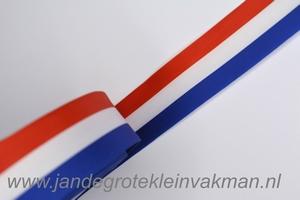 Lint, rood-wit-blauw, 7mm breed, per meter