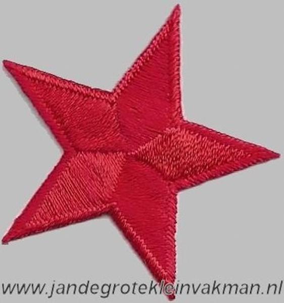 Applicatie ster, optrijkbaar en opnaaibaar, rood, 25mm
