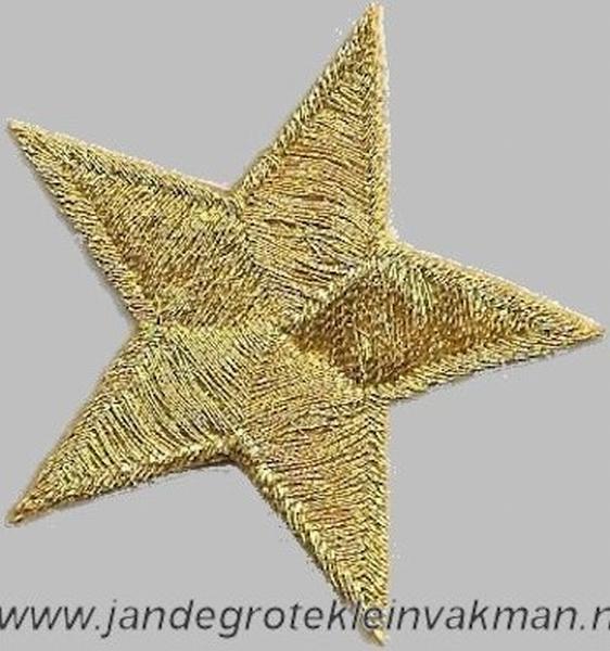 Applicatie ster, optrijkbaar en opnaaibaar, goudkleur, 37mm
