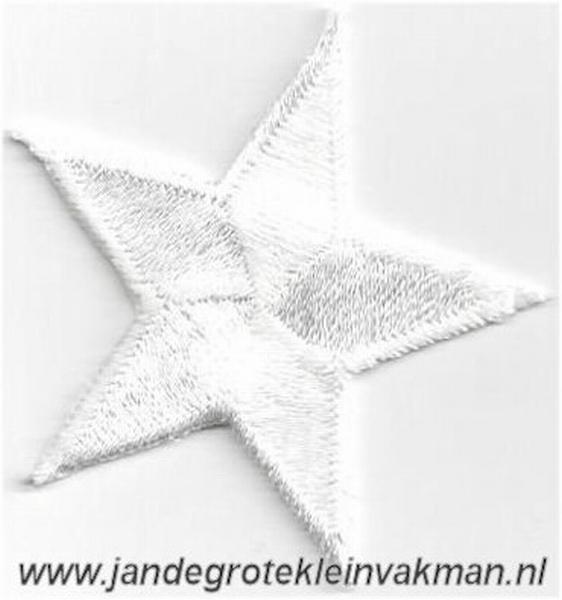 Applicatie ster, optrijkbaar en opnaaibaar, wit, 55mm