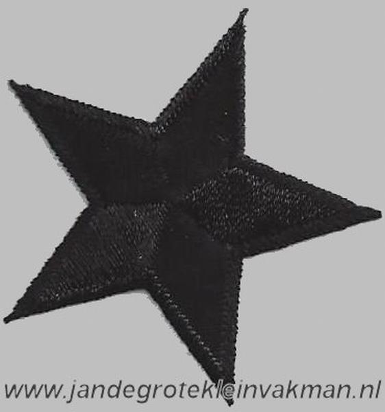 Applicatie ster, optrijkbaar en opnaaibaar, zwart,  45mm