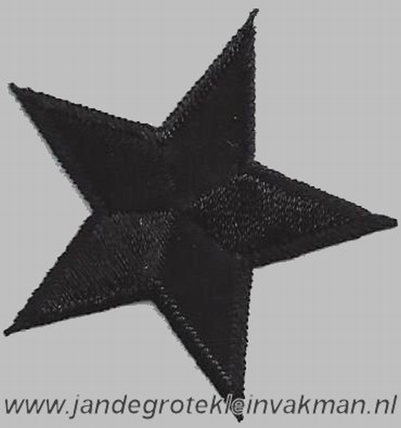 Applicatie ster, optrijkbaar en opnaaibaar, zwart, 25mm